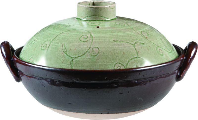画像1: 手造り唐草紋 ビードロ釉8号土鍋(3人用)