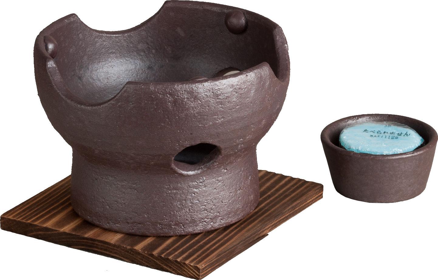 画像2: 焼締(茶) 陶板鍋セット