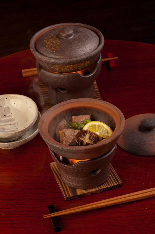 画像1: 焼締(茶) 陶板鍋セット