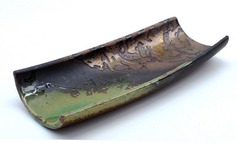 画像1: 伊賀金彩 手造り長皿31cm