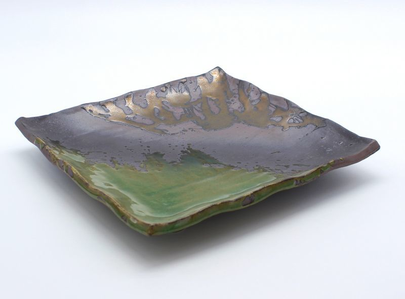画像1: 伊賀金彩 8号正角皿
