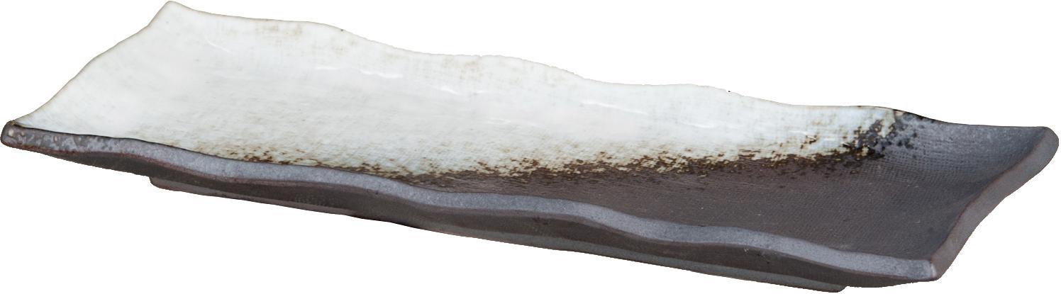 画像1: 黒焼締白釉流し さんま皿