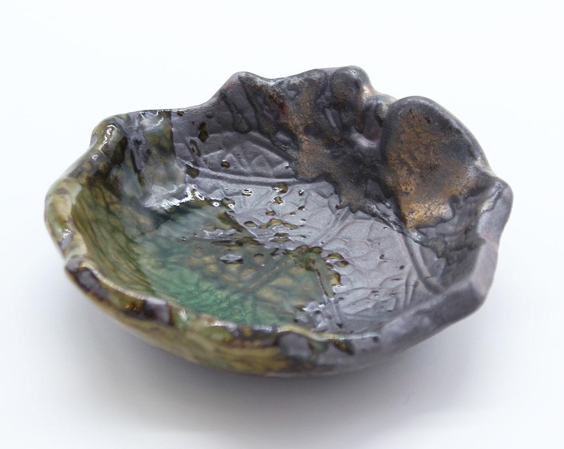 画像1: 伊賀金彩 木の葉タレ皿