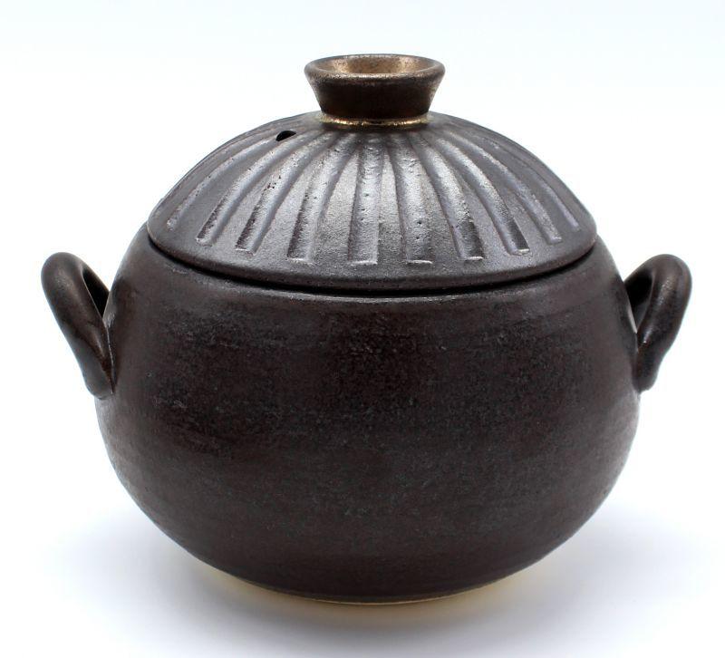 画像1: 【送料無料】セラミックコーティングごはん炊き土鍋2〜3合炊き しのぎ黒金彩